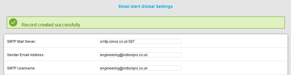 Email Alert Global Settings Record Created