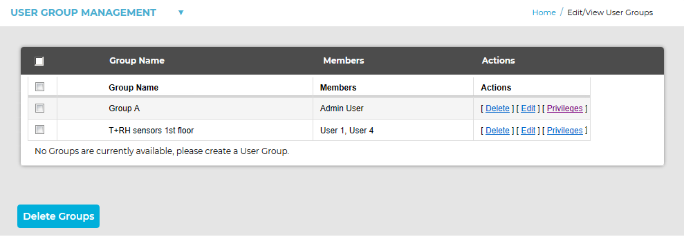 User Group Management- Group Name