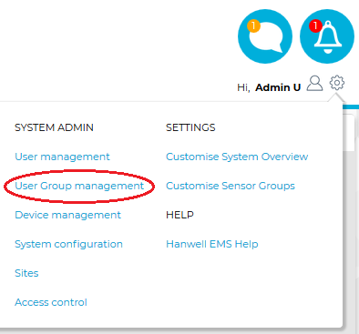 System Menu-User Group Management