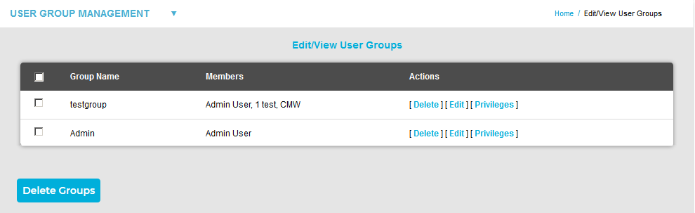 Edit-View User Group Window