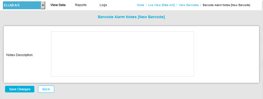 Barcodes Alarm Notes Add