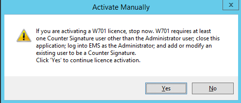 Activate Manually Warning Window