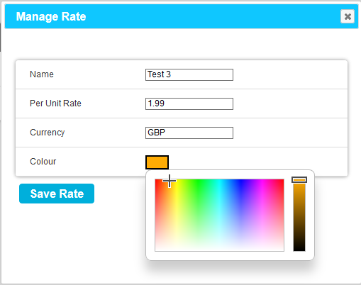 Manage Rate Colour Palette New