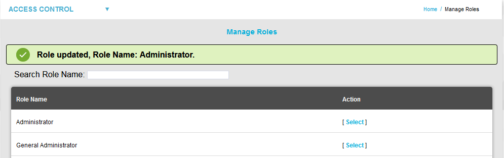 Role Updated Manage Roles