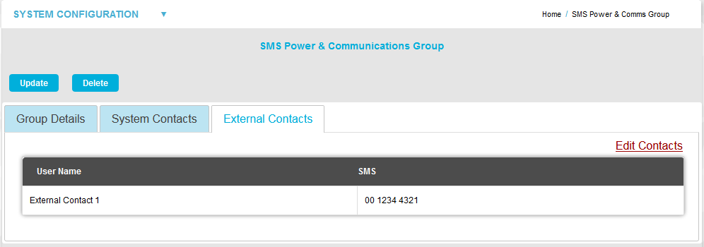 SMS COMMS Grp - External Contacts Edit