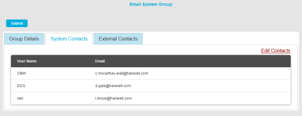 Email System Group Edit Contacts