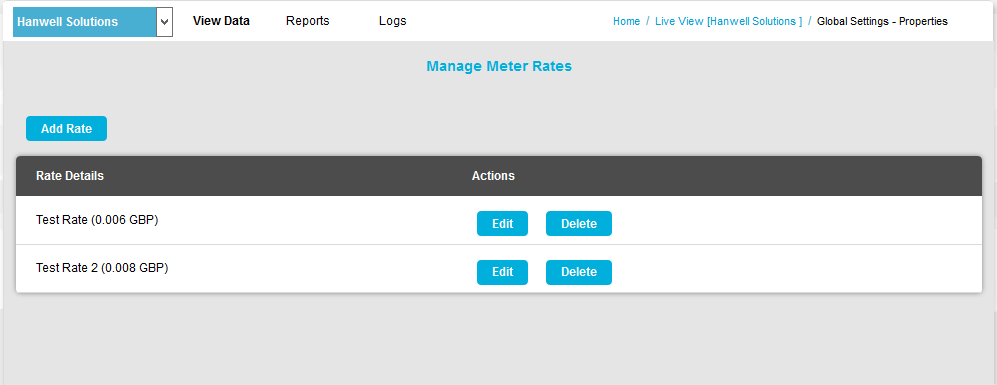 Manage Meter Rates Window New