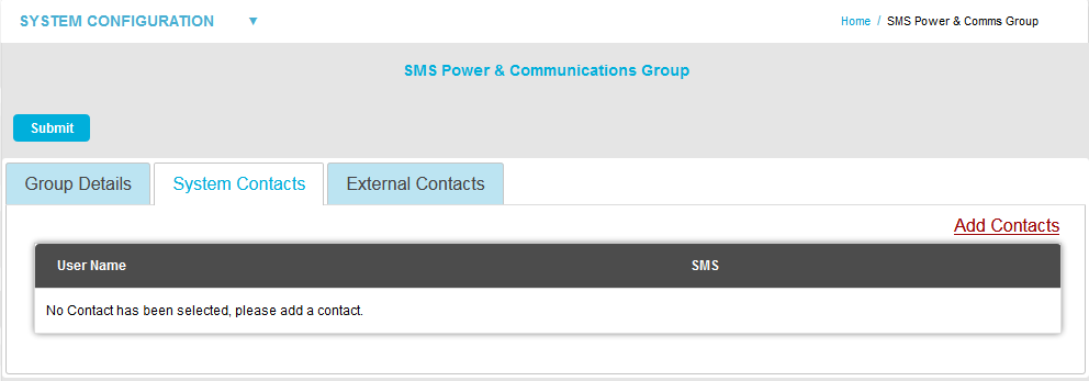 SMS POwer and Comms Group System Contacts