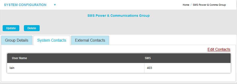 SMS Power and Comms Group System Contacts - Edit Contacts