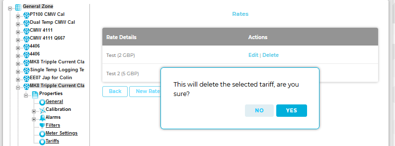 Delete Selected Tariff Warning