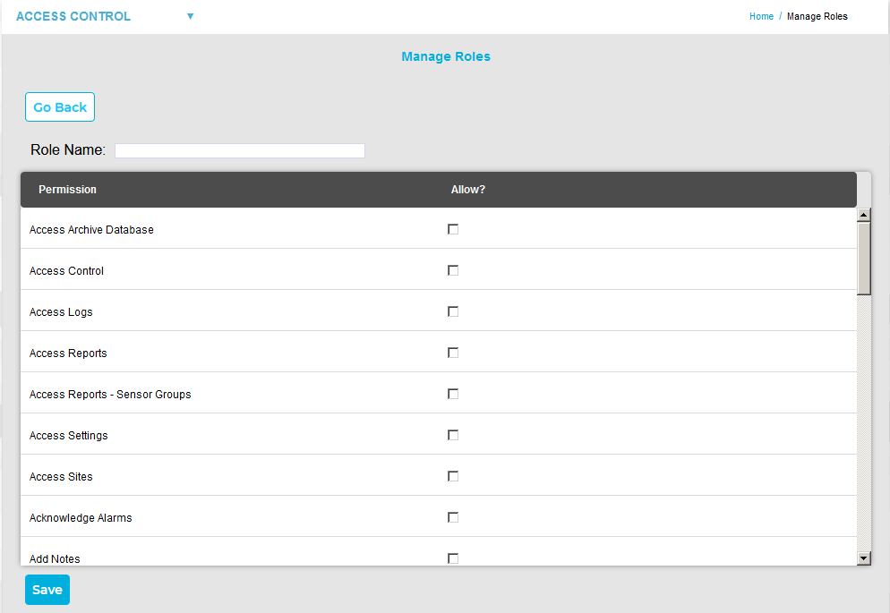Second Manage Roles Interface