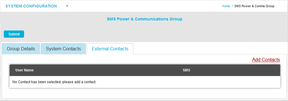 SMS POwer and Communications Group External Contacts