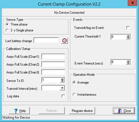 Current Clamp Configuration window