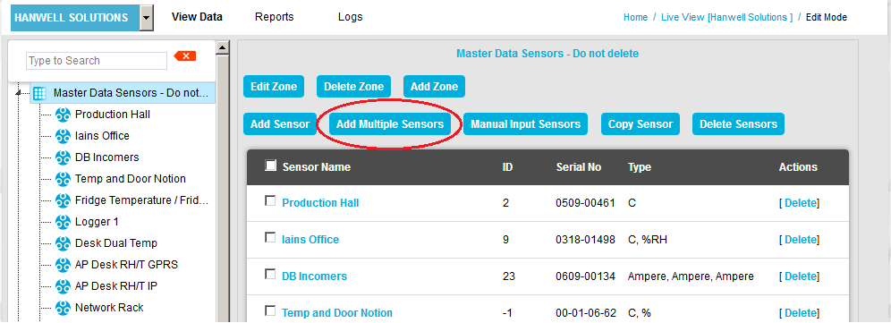 Add Multiple Sensors Window New