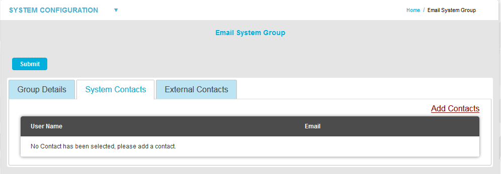Email System Group System Contacts