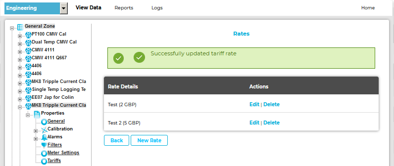 Edit Tariff Rate Successfully Updated OLD
