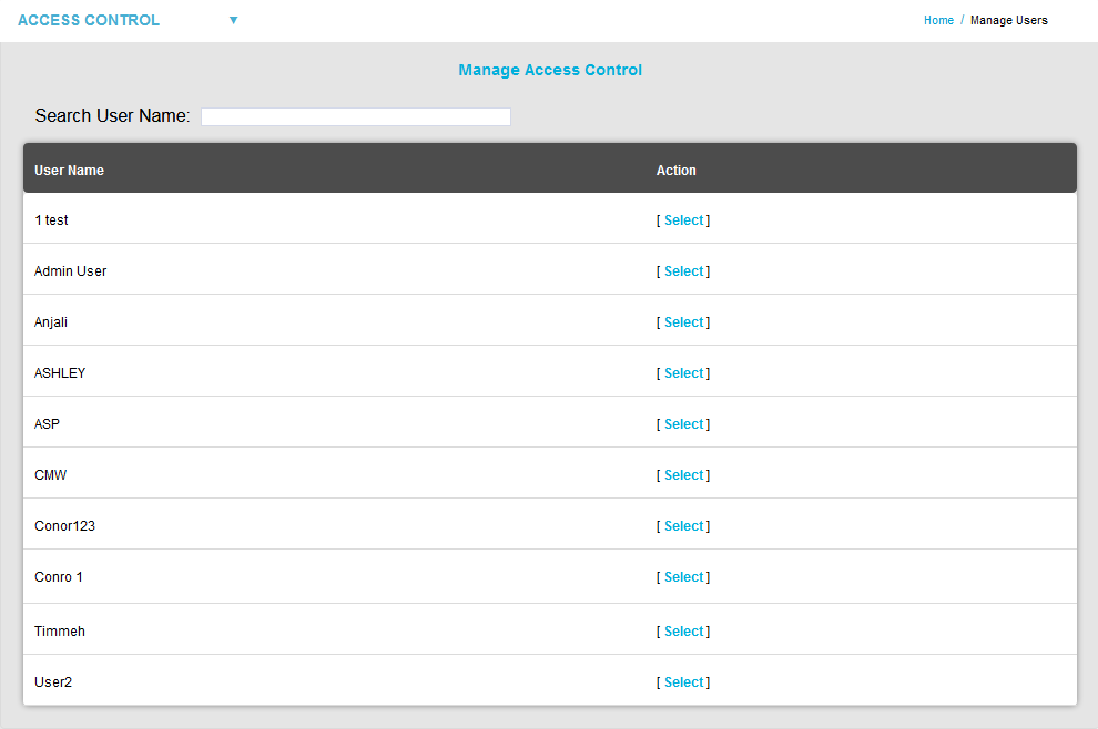 Archive Select a User to Manage2