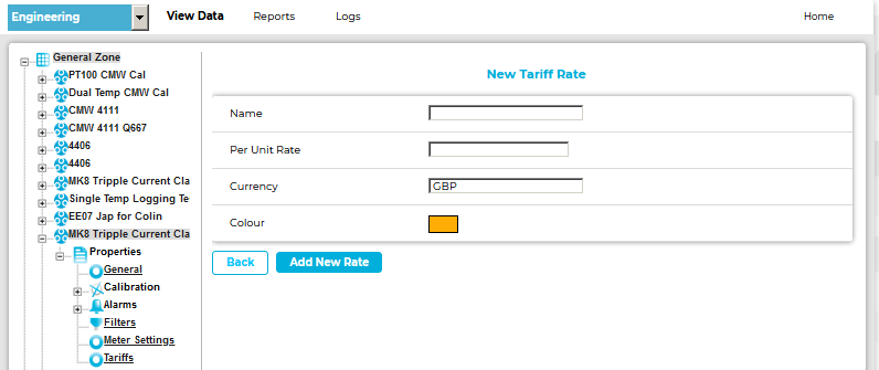 New Tariff Rate Window