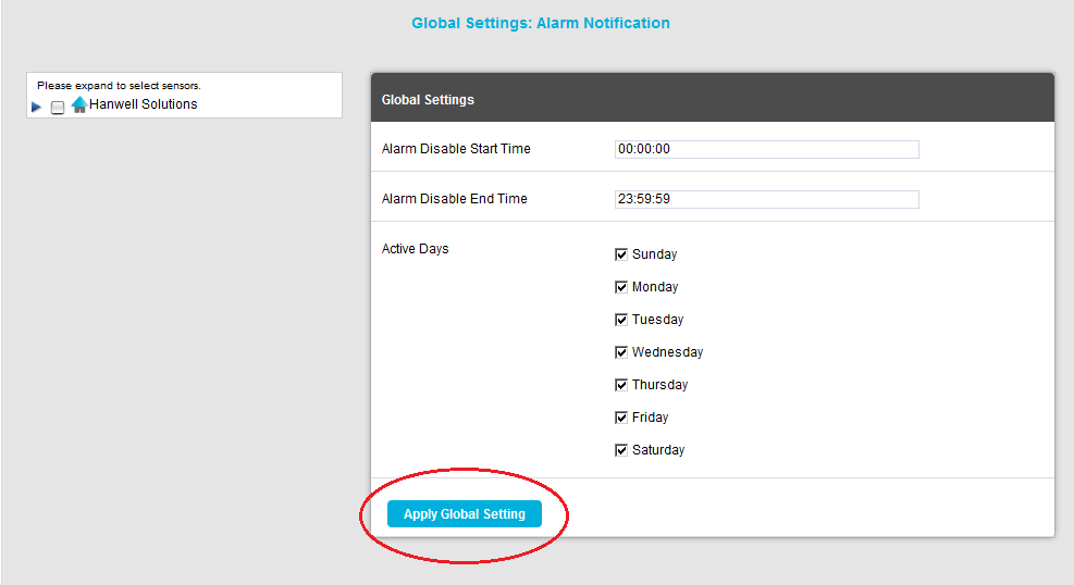 Apply Global Settings Button