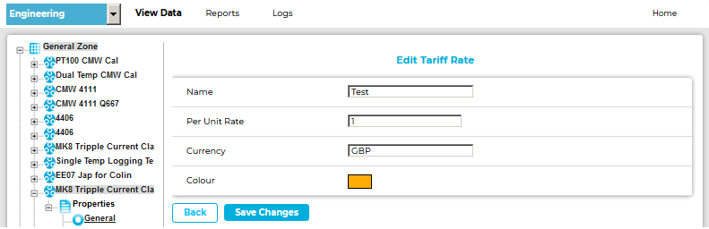 Edit Tariff Rate Window