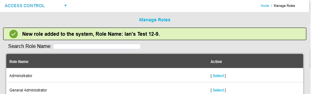 Manage Roles Green Dialog