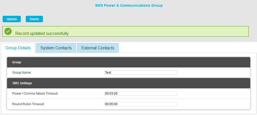 SMS Power and Comms Updated Successfully