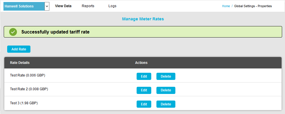 Manage Meter Rate Editing
